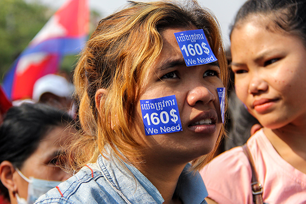 Female garment worker at peaceful January rally